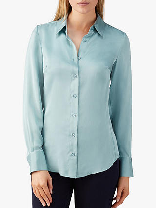 Buy Pure Collection Silk Satin Blouse, Frost Blue, 10 Online at johnlewis.com