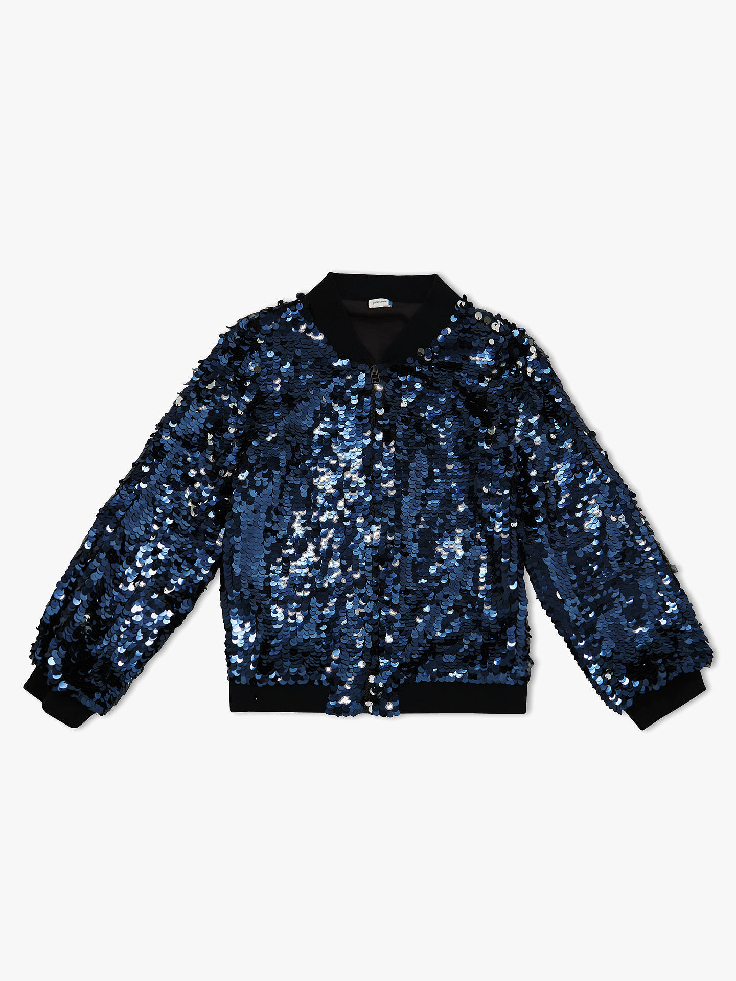 8e5988de5a John Lewis & Partners Girls' Sequin Bomber Jacket, Blue at John ...