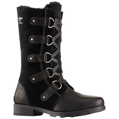 Sorel Emelie Lace Up Long Snow Boots, Black Leather