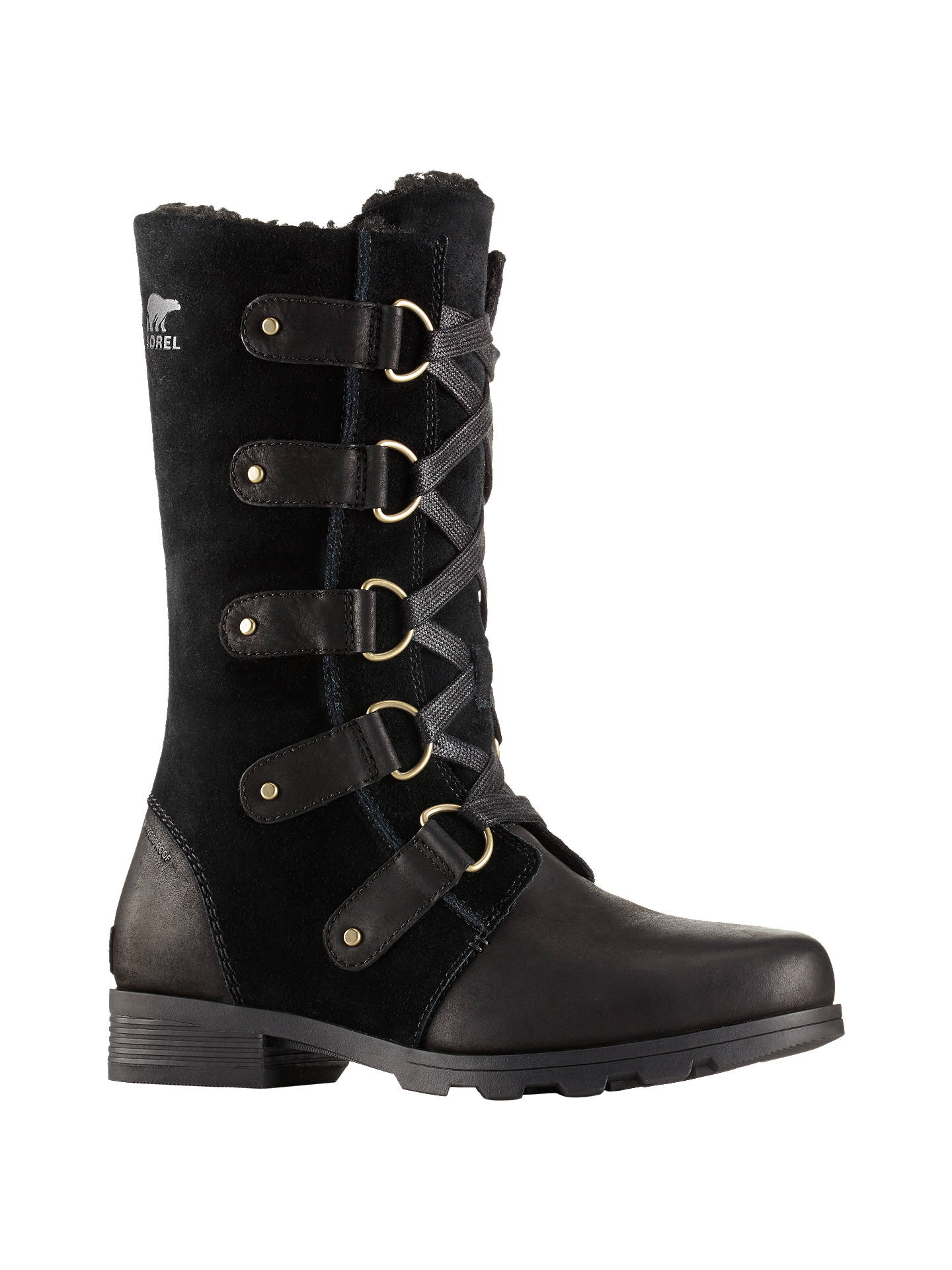 14f64a43a Buy Sorel Emelie Lace Up Long Snow Boots, Black Leather, 6 Online at  johnlewis ...