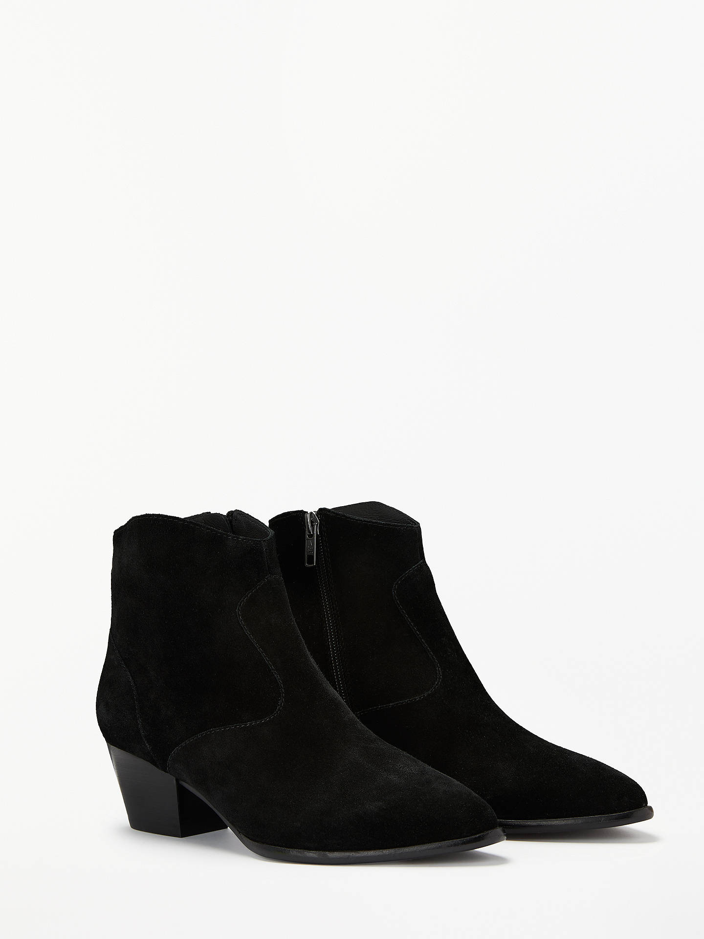 Buy Ash Heidi Block Heel Ankle Boots, Black Leather, 5 Online at johnlewis.com