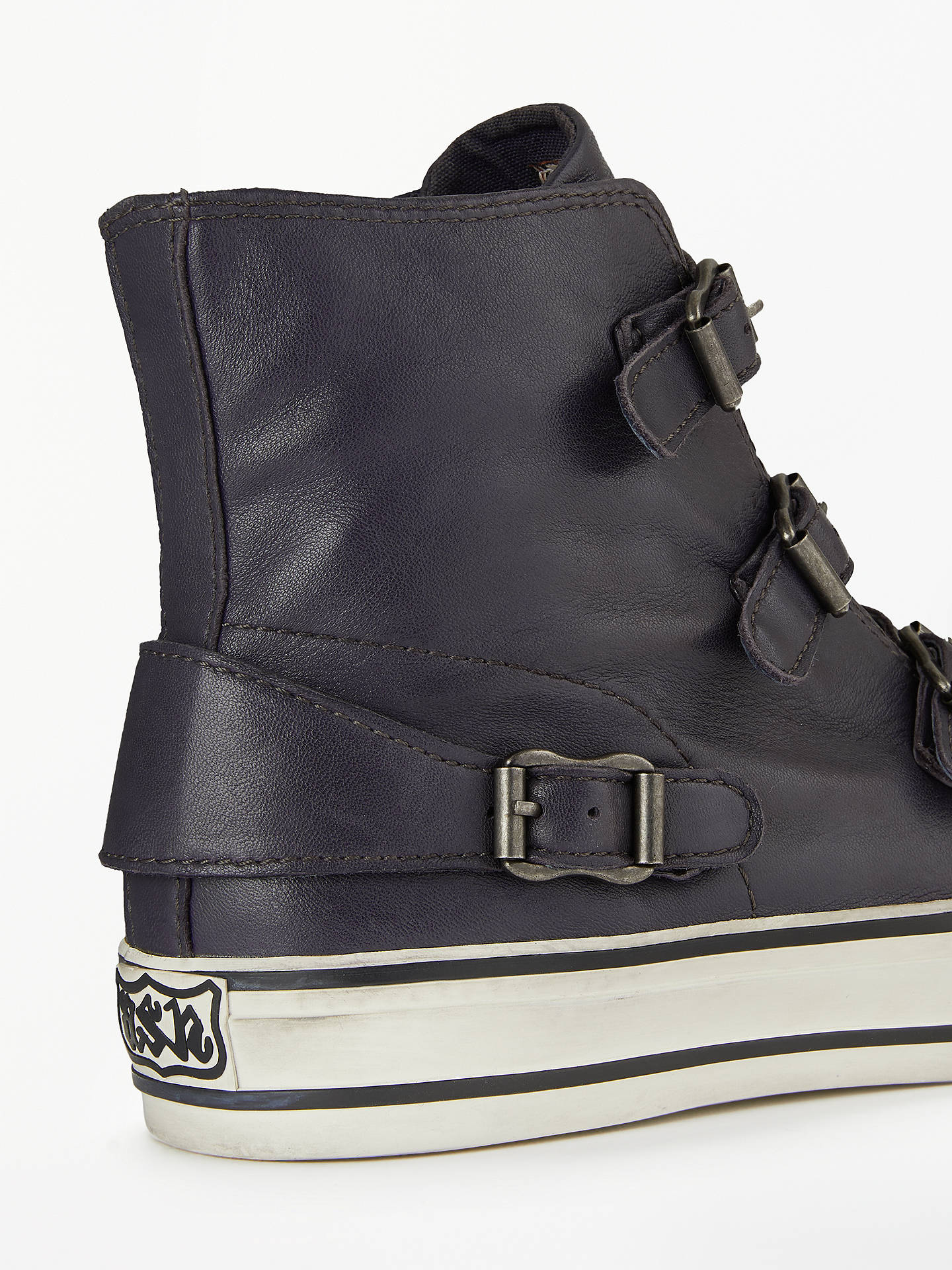 BuyAsh Buckle Up Hi-Top Trainers, Graphite Leather, 4 Online at johnlewis.com