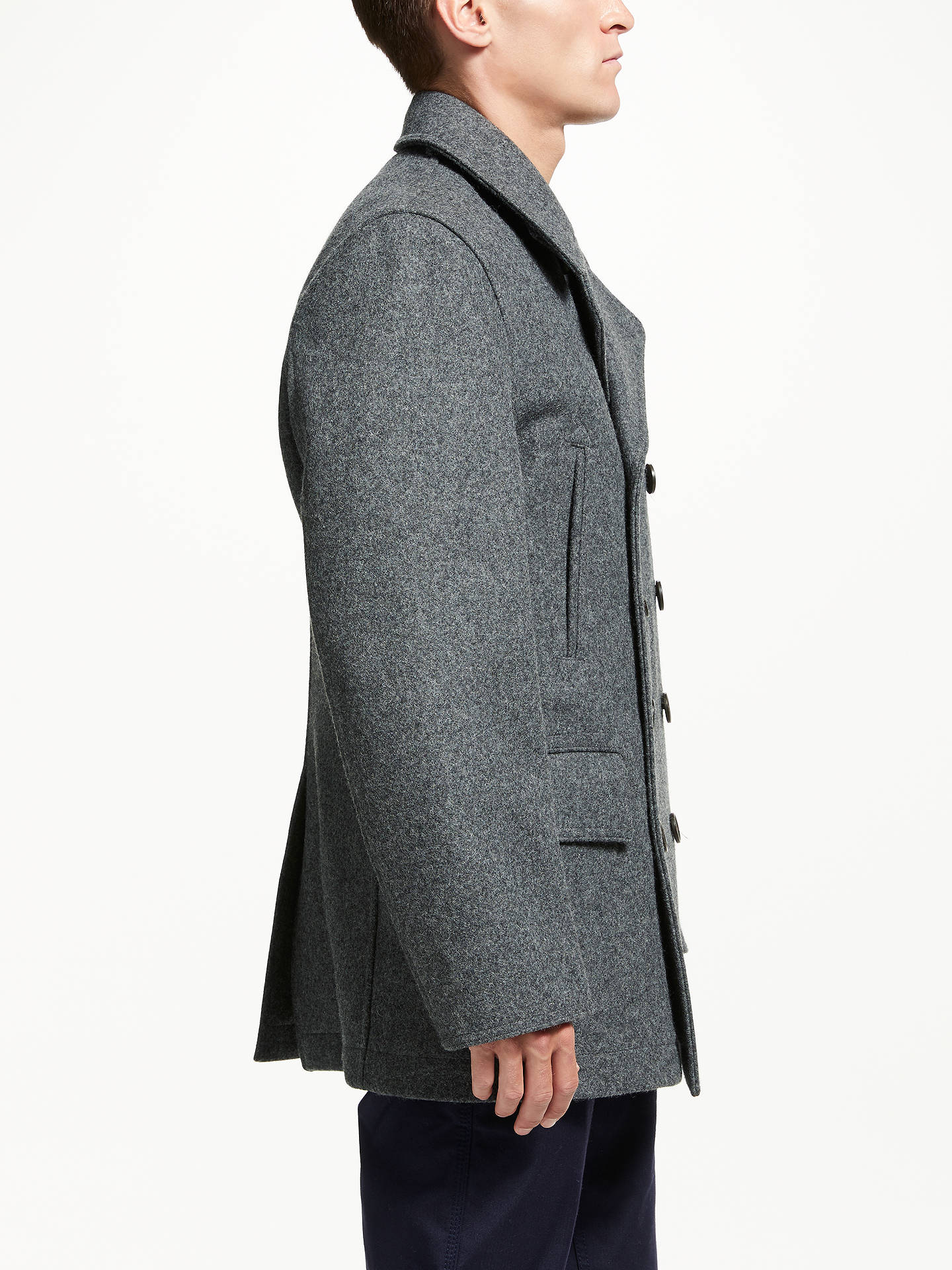 BuyGloverall for John Lewis & Partners Churchill Reefer Coat, Grey, M Online at johnlewis.com