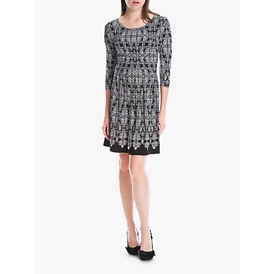 Max Studio Ornamental Flared Jersey Dress, Black/Bone