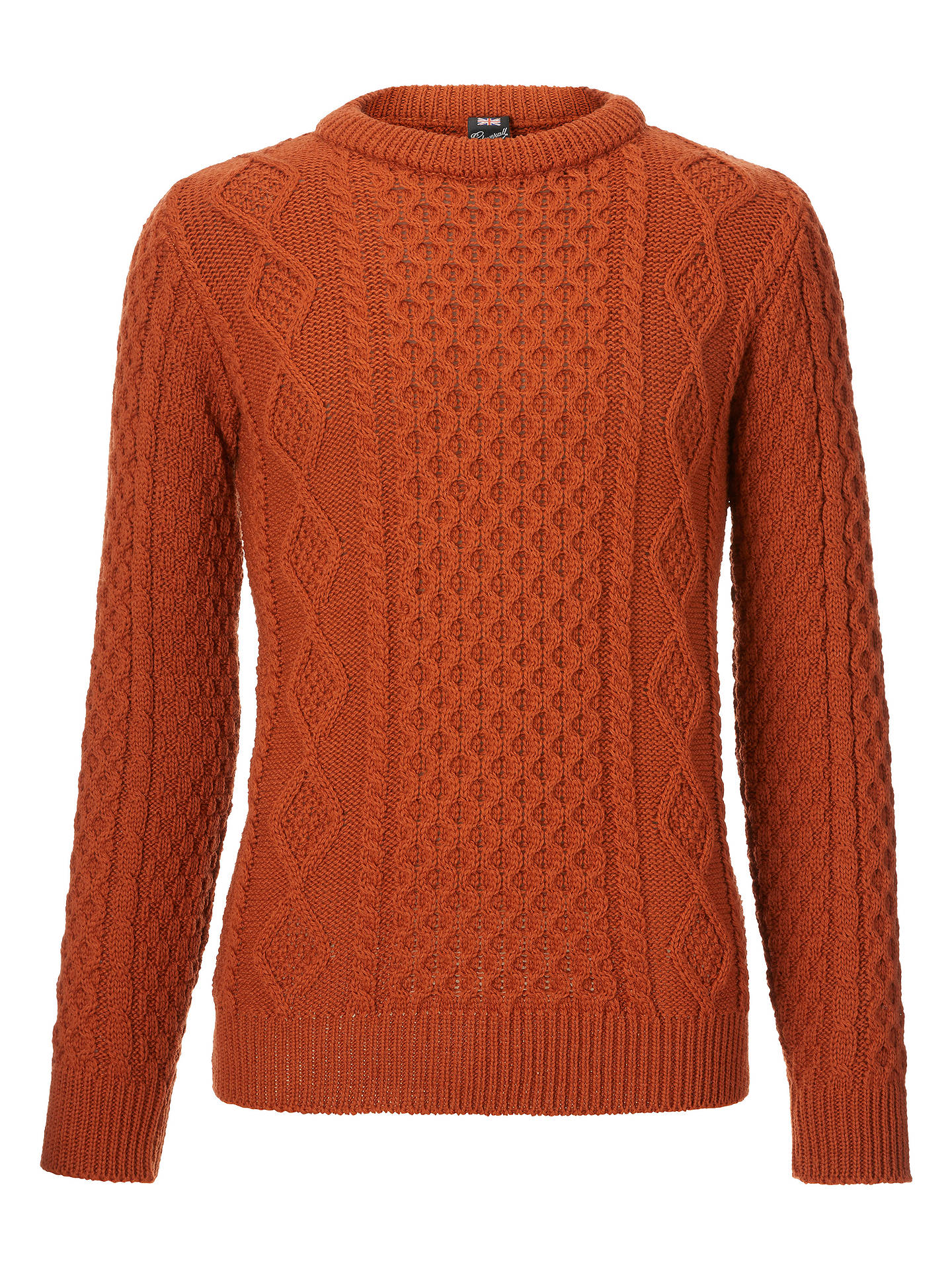 BuyGloverall for John Lewis & Partners Aran Cable Knit Jumper, Red, M Online at johnlewis.com