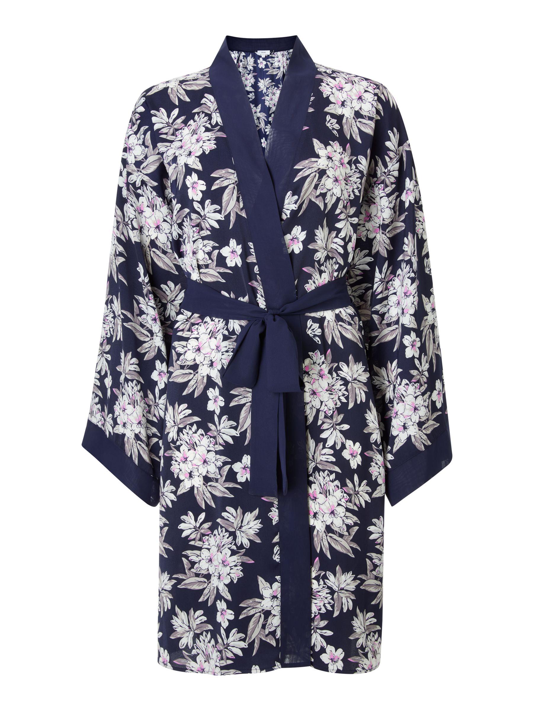 John Lewis Partners Odette Floral Satin Dressing Gown Blue At John Lewis Partners