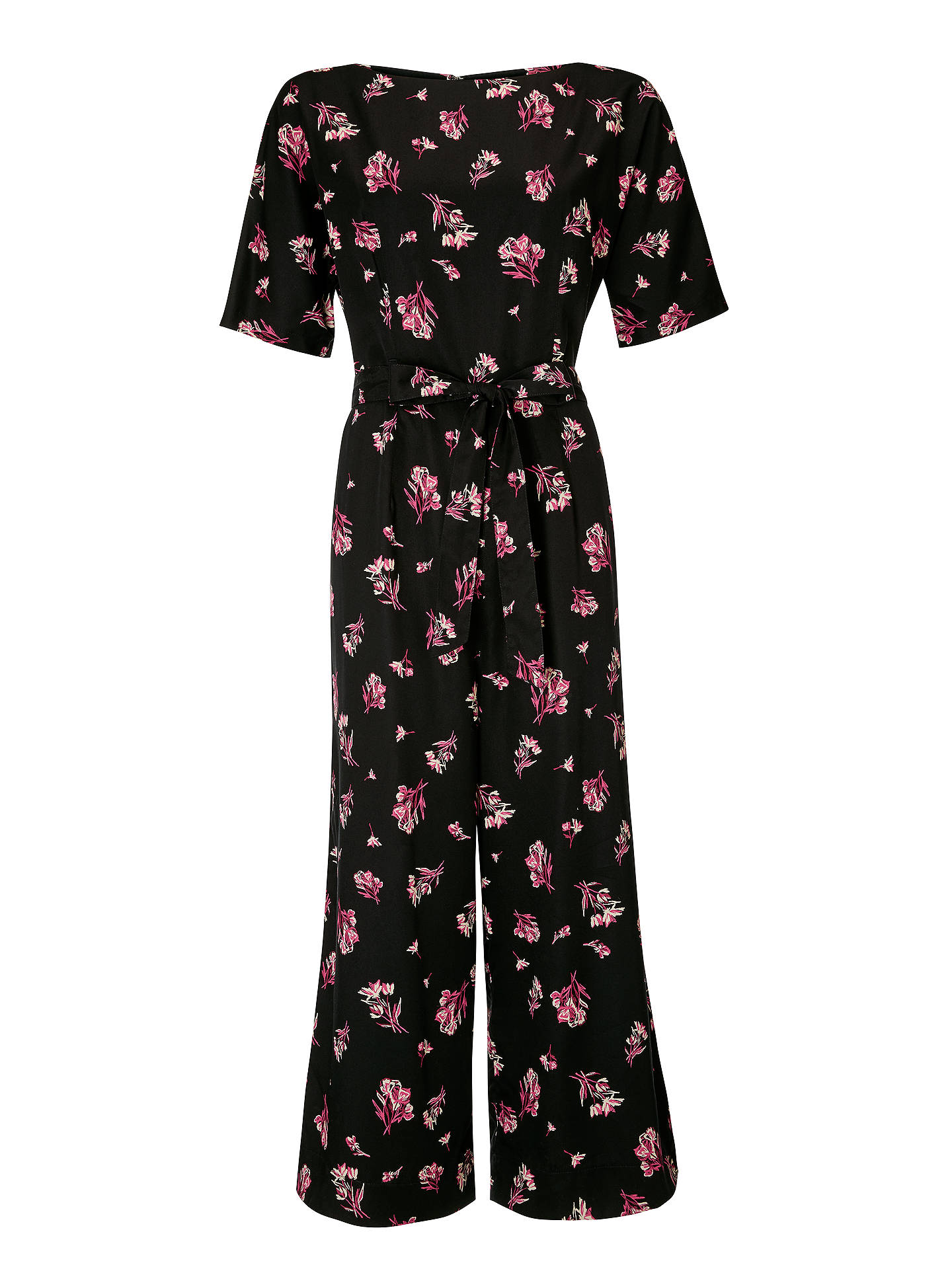 top-rated genuine sold worldwide first rate People Tree Lexia Floral Jumpsuit, Black/Pink at John Lewis ...