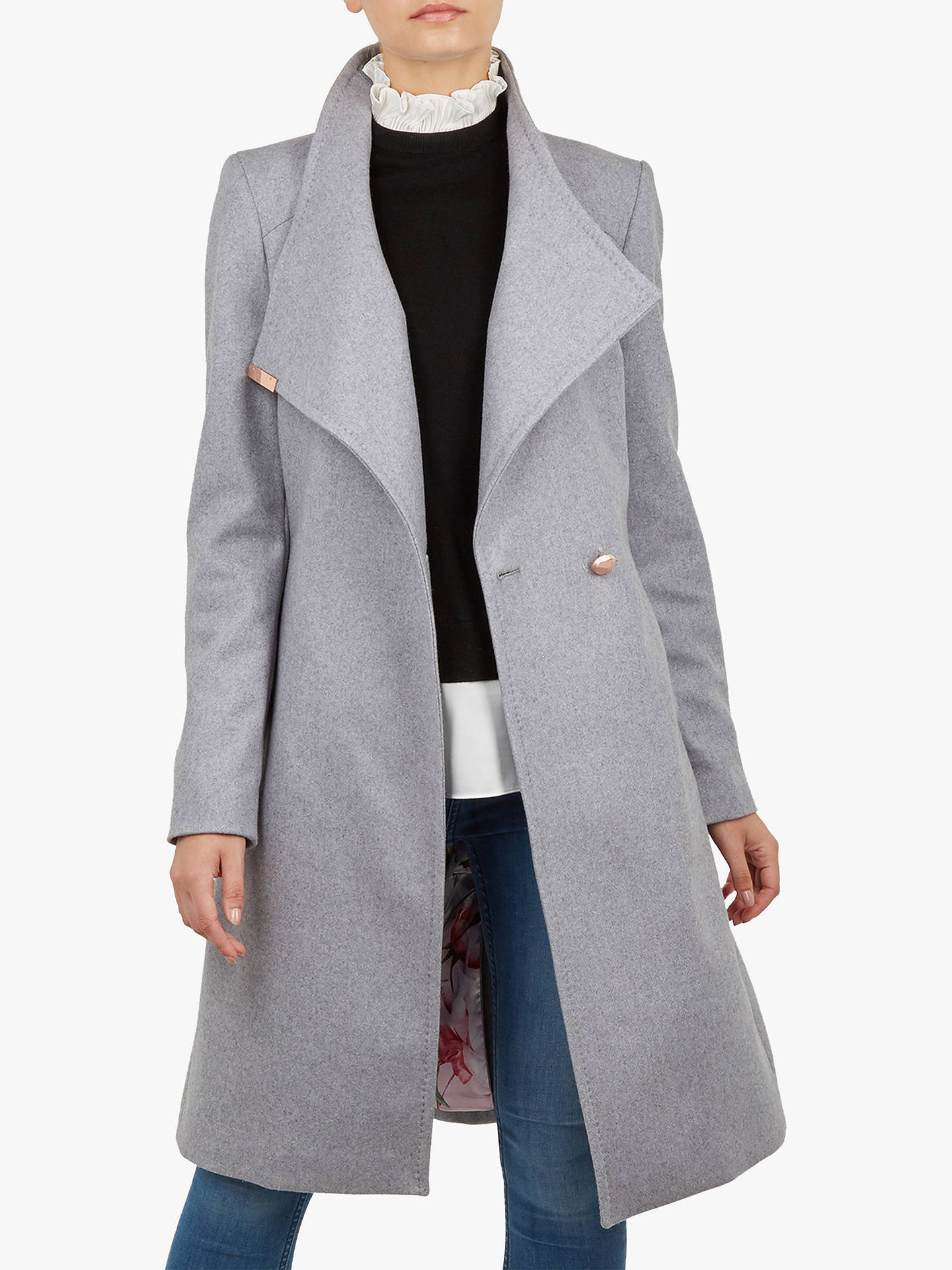 Buy Ted Baker Sandra Wool Blend Wrap Coat, Grey, M Online at johnlewis.com