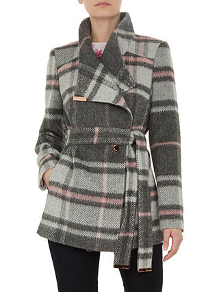 Buy Ted Baker Fredde Short Check Wool Wrap Coat, Light Grey, 1 Online at johnlewis.com