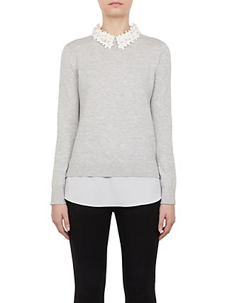 Ted Baker Nansea Floral Collar Jumper, Grey