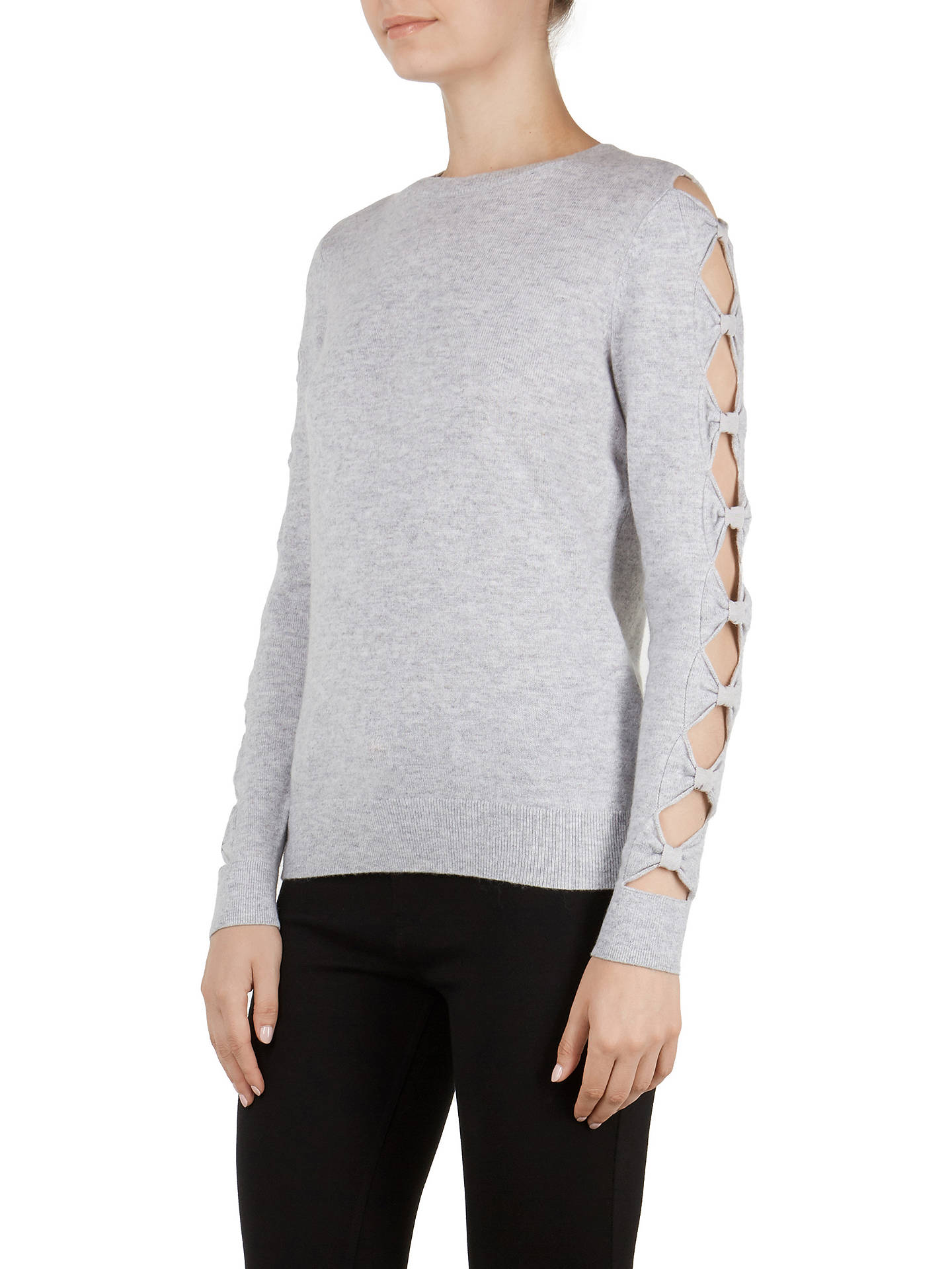 Buy Ted Baker Danikaa Cut-Out Bow Sleeve Jumper, Grey, 0 Online at johnlewis.com