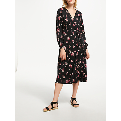People Tree Jamila Wrap Floral Dress, Black/Pink