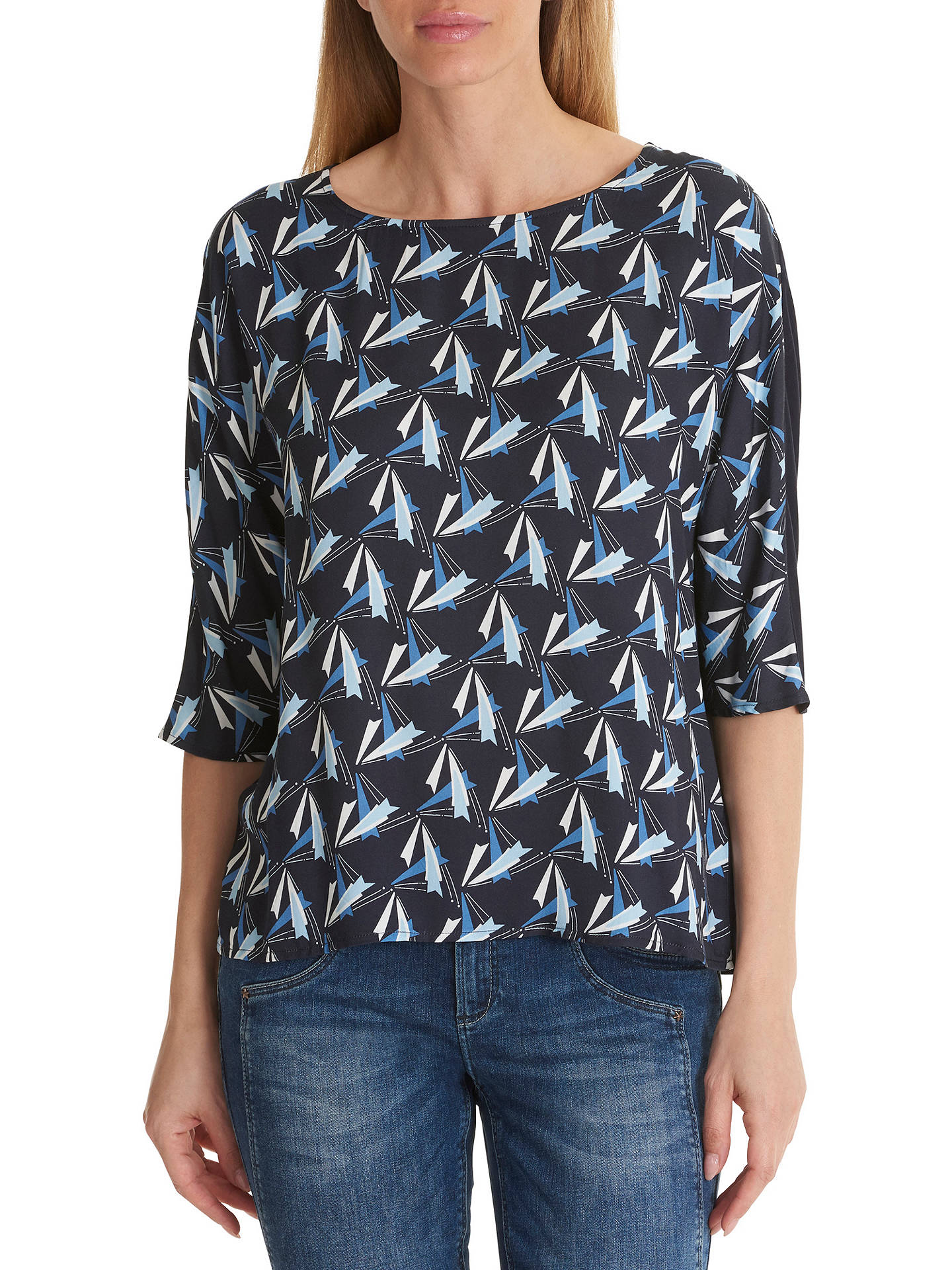 BuyBetty Barclay Dart Print Top, Blue/Blue, 10 Online at johnlewis.com