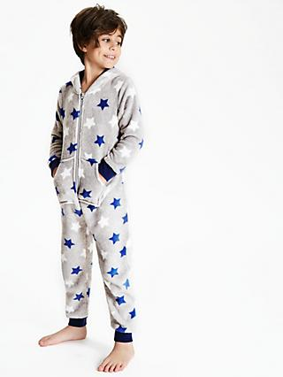John Lewis & Partners Boys' Star Print Fleece Onesie, Blue