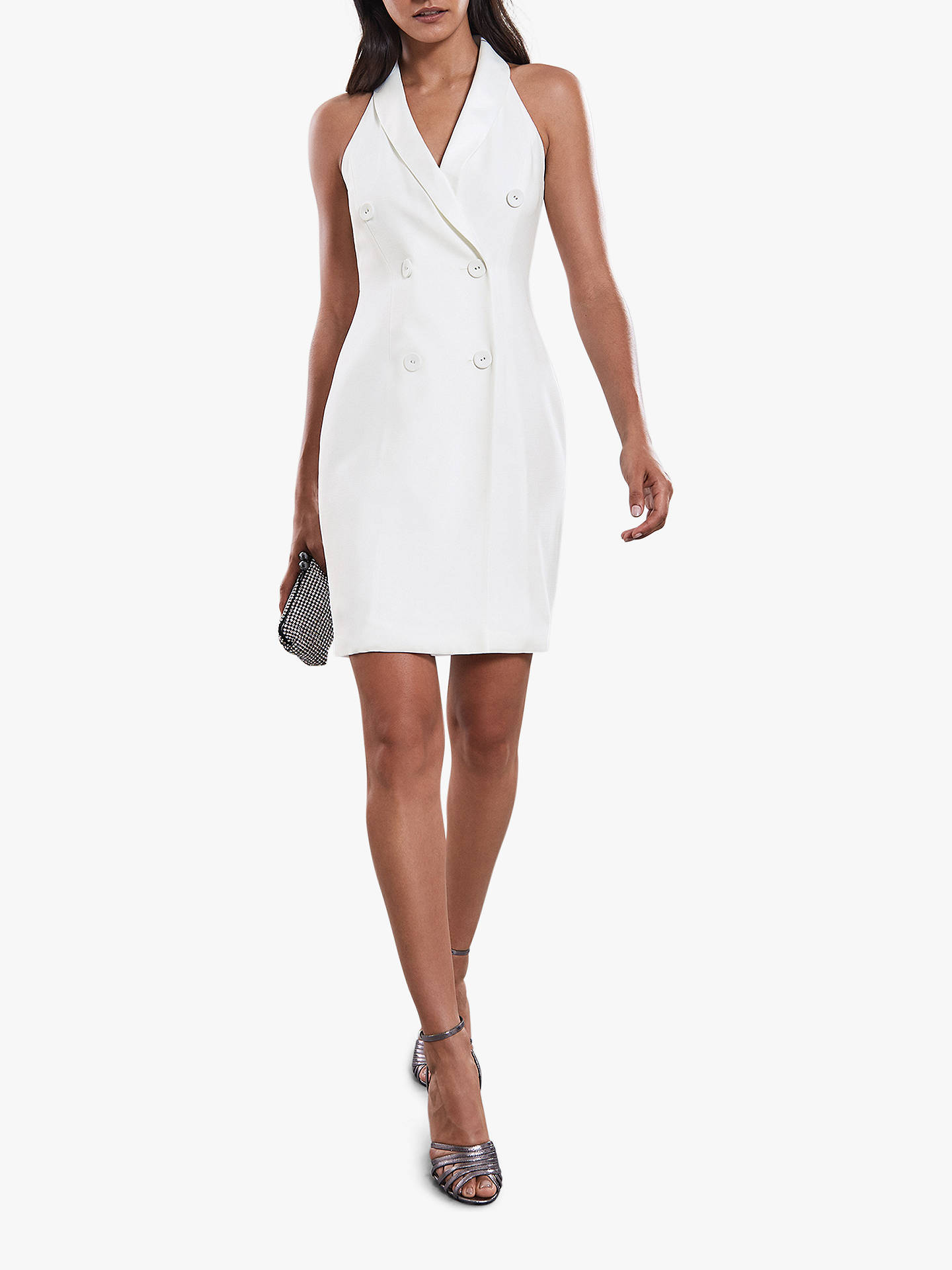 BuyReiss Sinead Sleeveless Tuxedo Dress, Off White, 6 Online at johnlewis.com