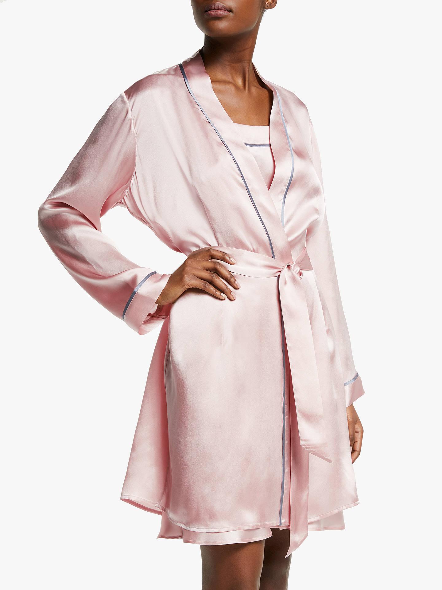 John Lewis Partners Silk Piped Dressing Gown Pink At John Lewis
