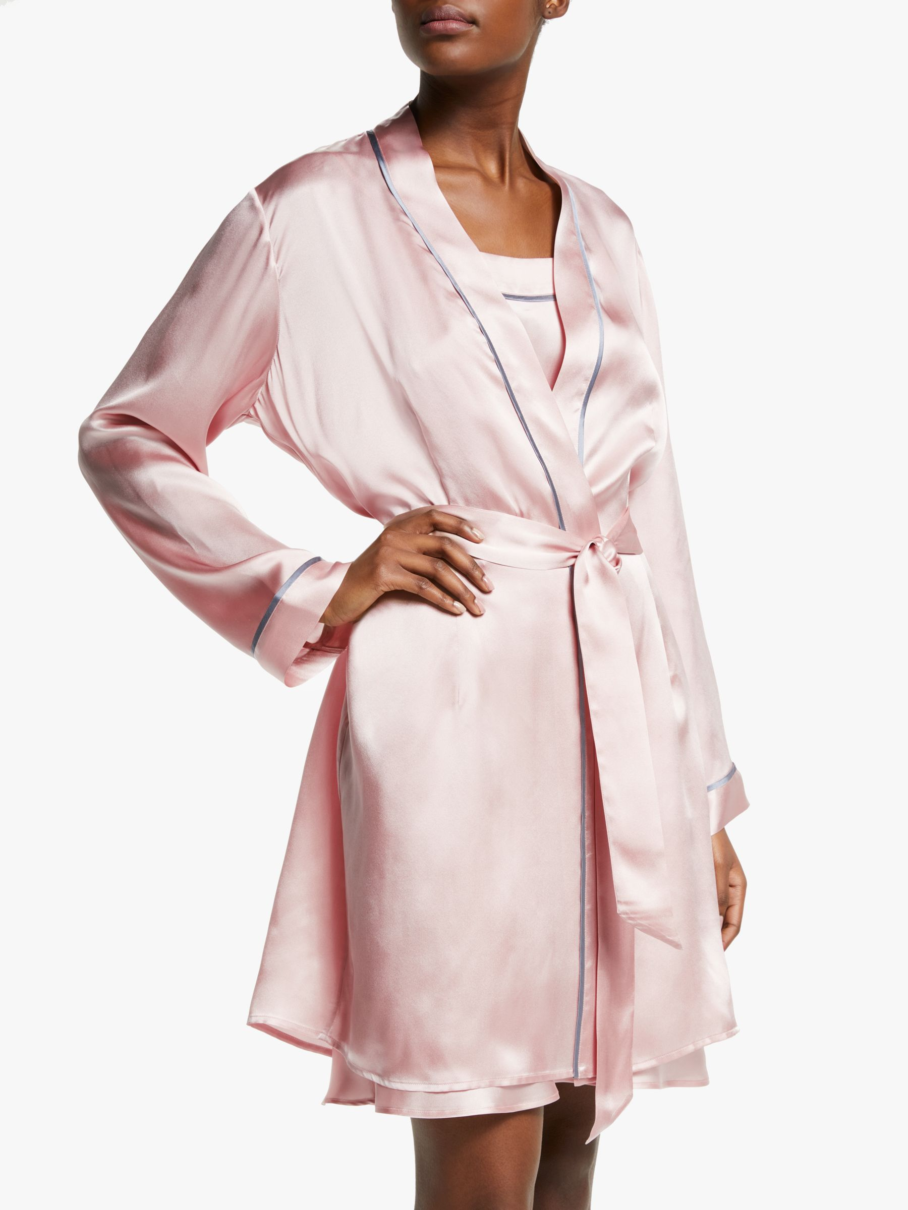 John Lewis Partners Silk Piped Dressing Gown Pink At John Lewis Partners