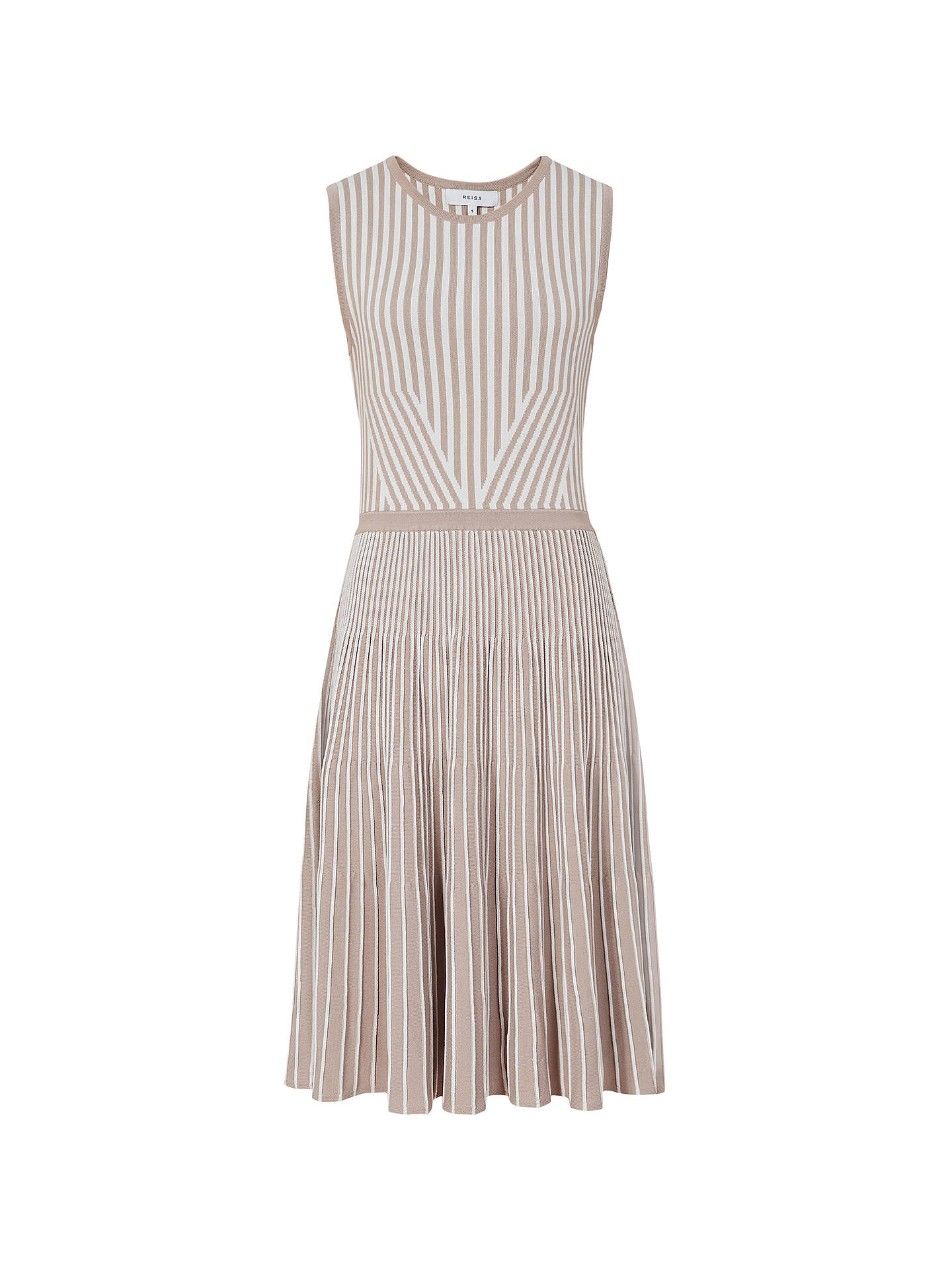 Buy Reiss Becky Striped Knitted Dress, Stone, XS Online at johnlewis.com