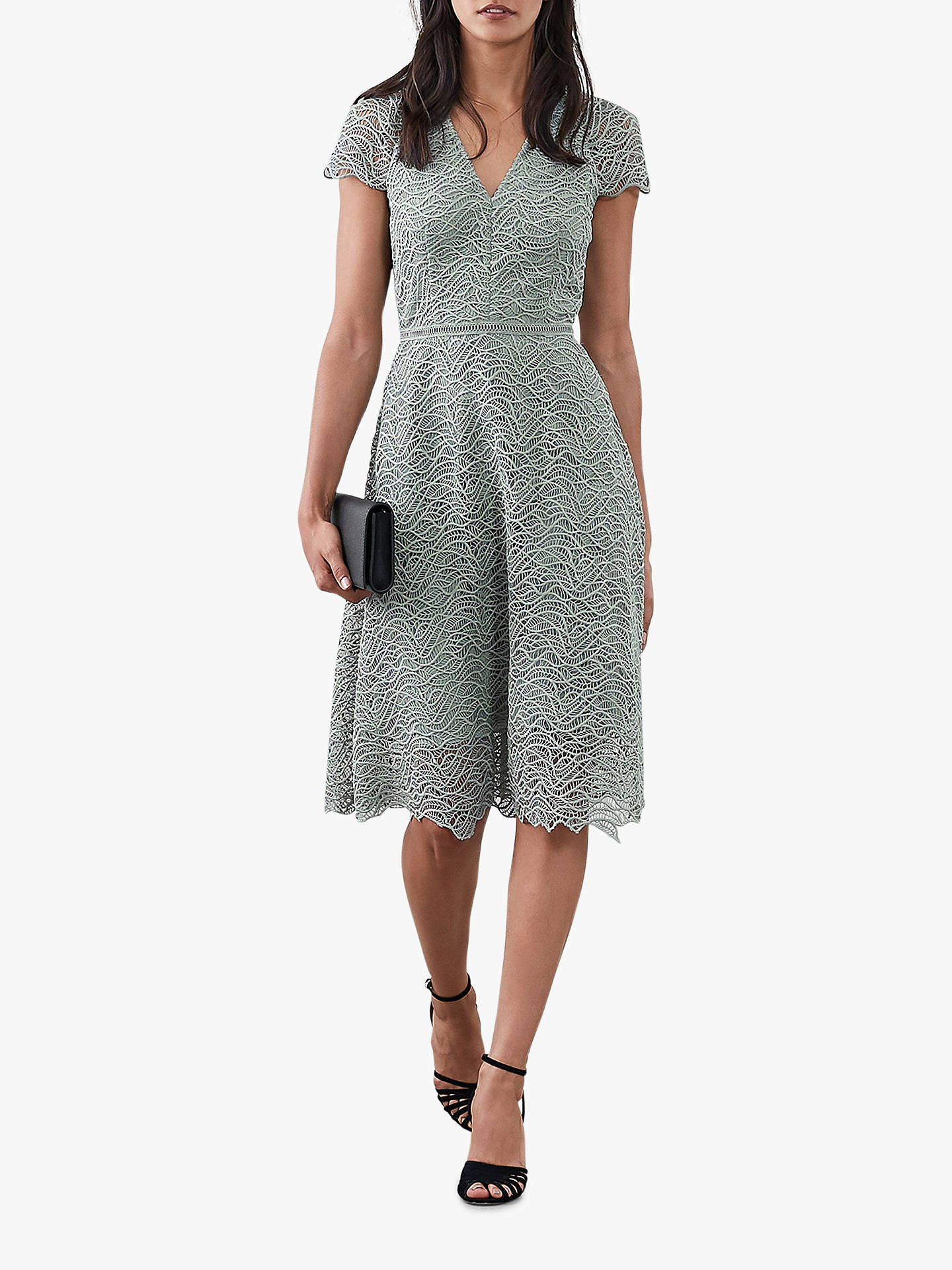 BuyReiss Arielle Leaf Lace Dress, Mid Green, 6 Online at johnlewis.com