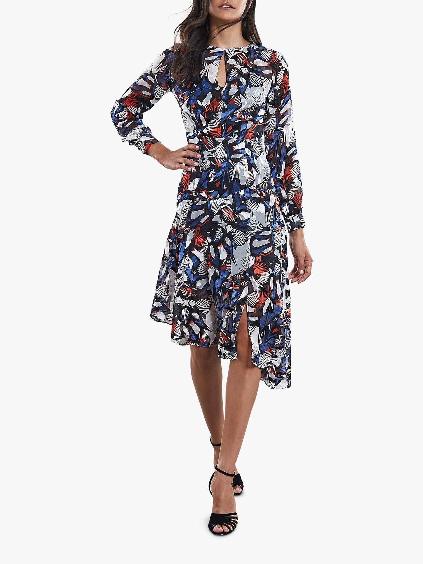 BuyReiss Aria Burnout Printed Dress, Multi, 8 Online at johnlewis.com