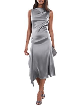 Reiss Seren Drape Dress, Grey