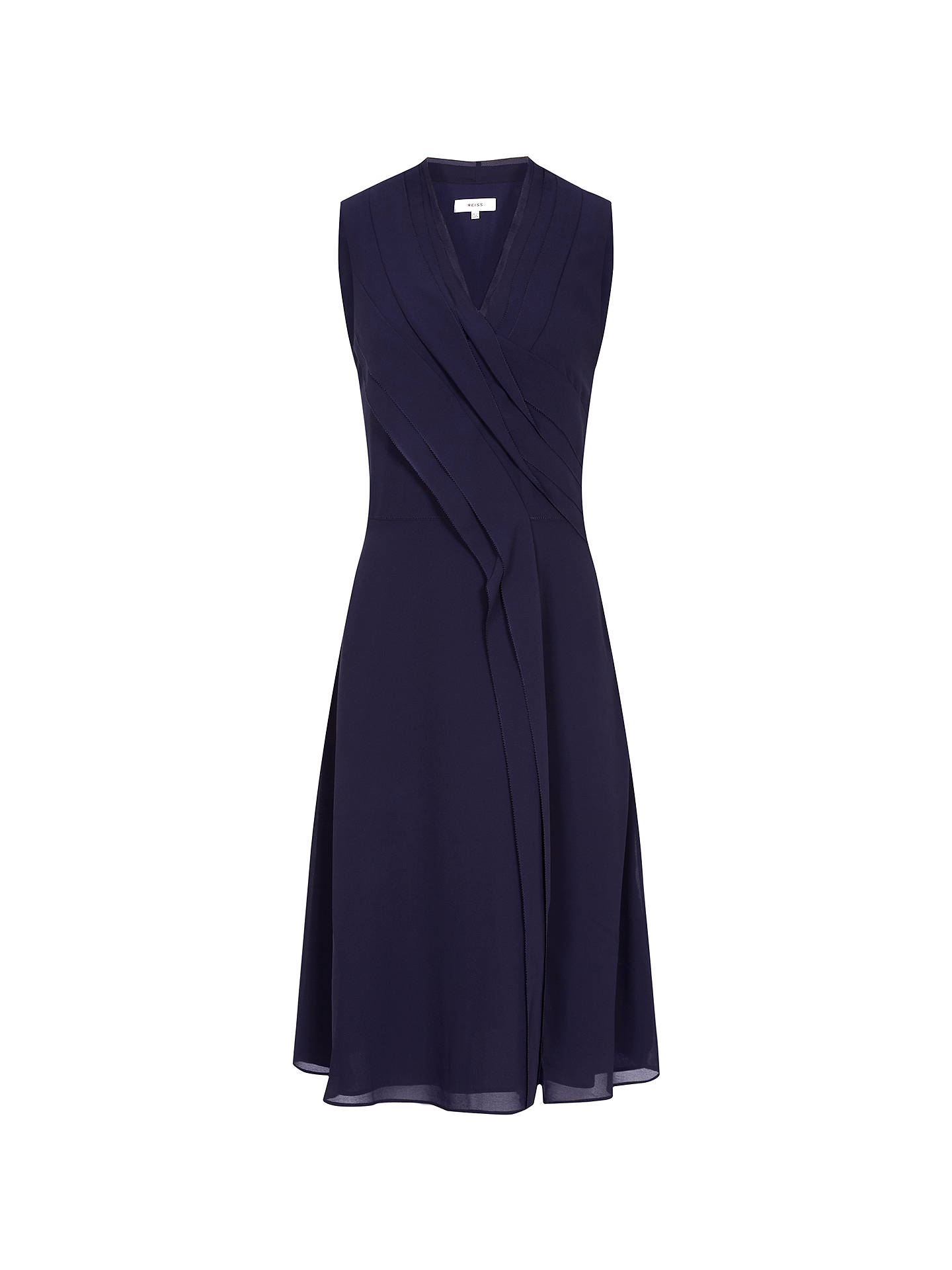 Buy Reiss Alana Pleat Dress, Navy, 6 Online at johnlewis.com