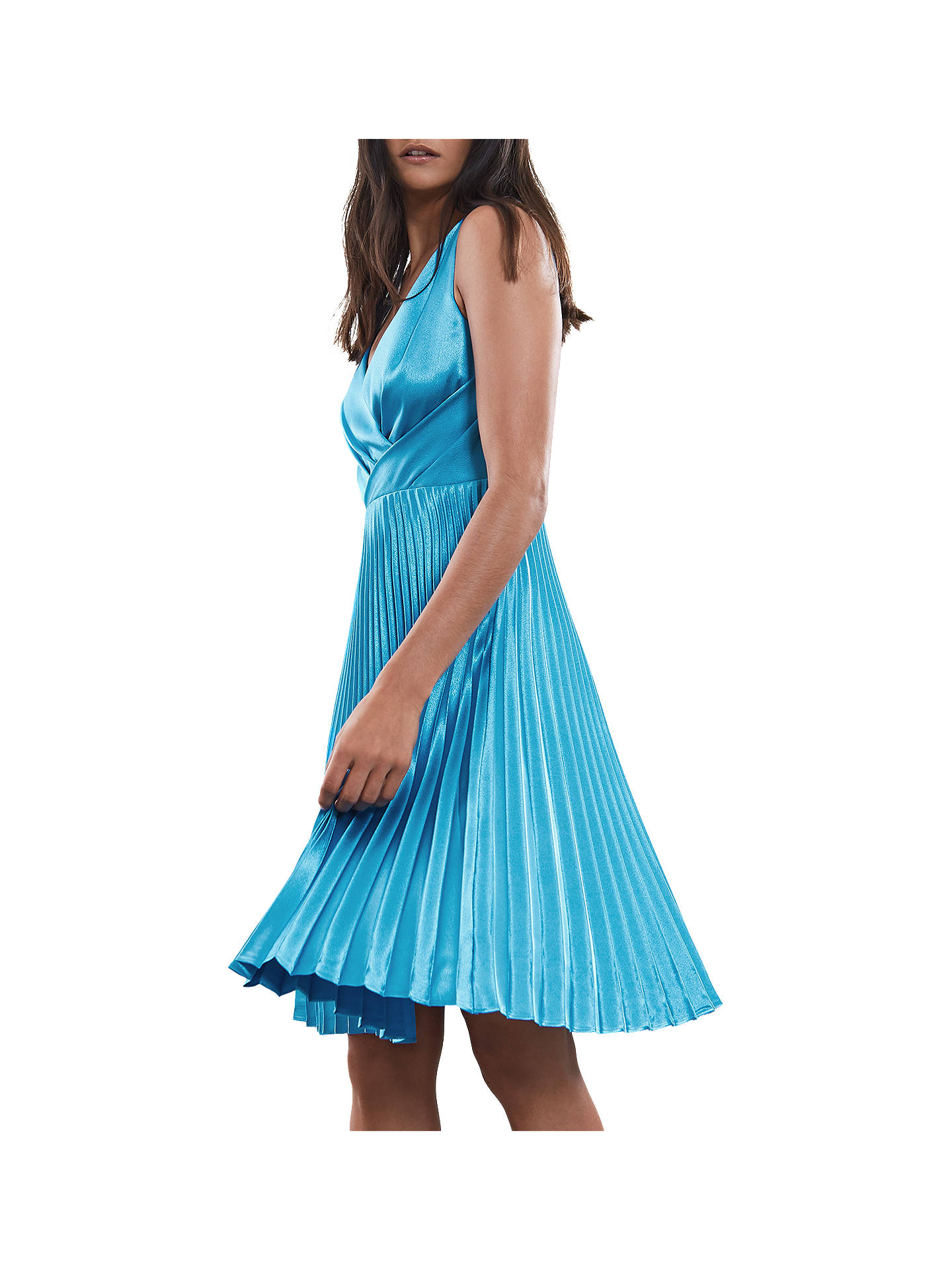 Buy Reiss Alicia Satin Pleated Midi Dress, Blue, 6 Online at johnlewis.com