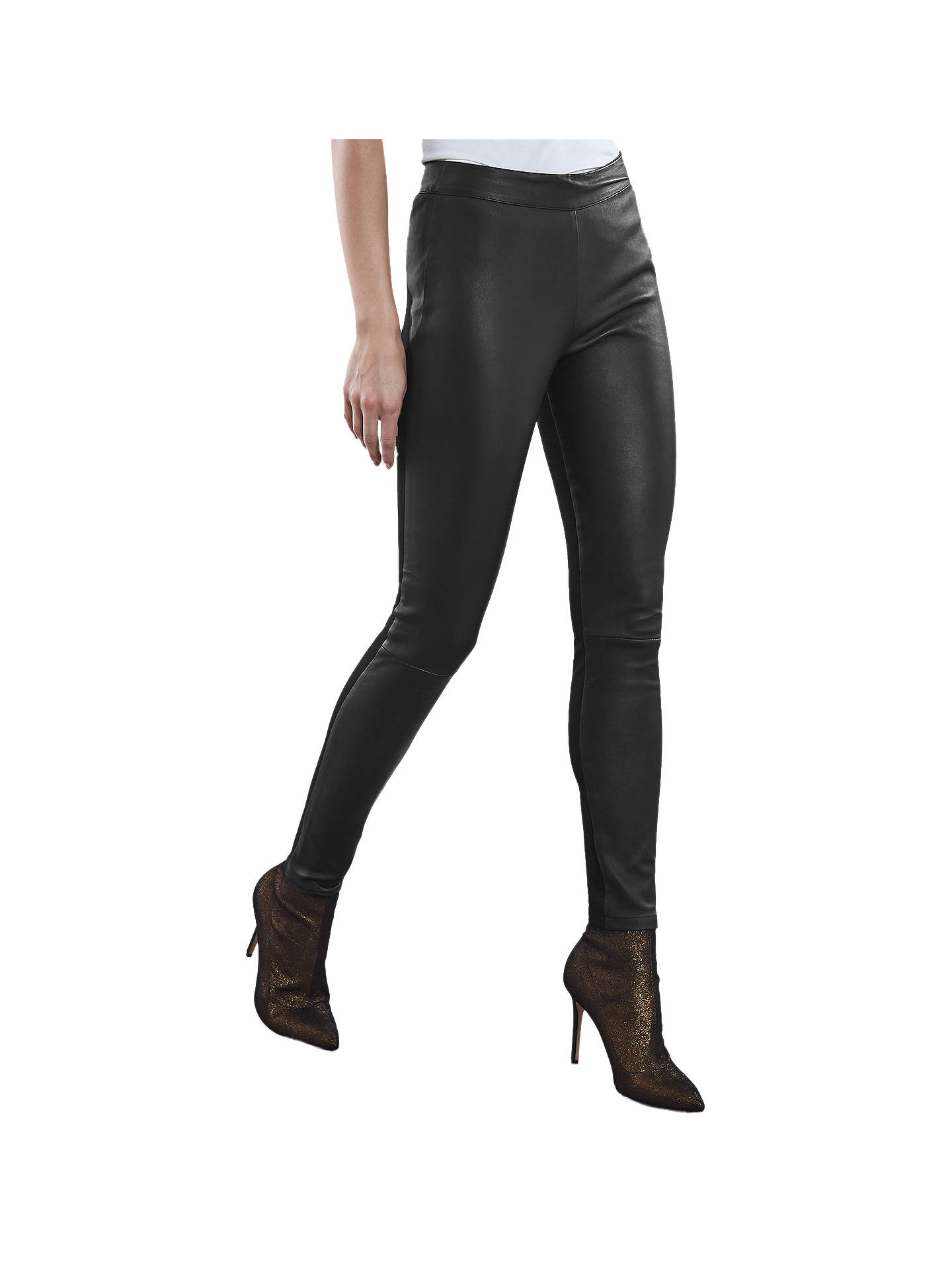 Buy Reiss Valerie Leather Pont Leggings, Black, 8 Online at johnlewis.com