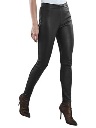 Reiss Valerie Leather Pont Leggings, Black