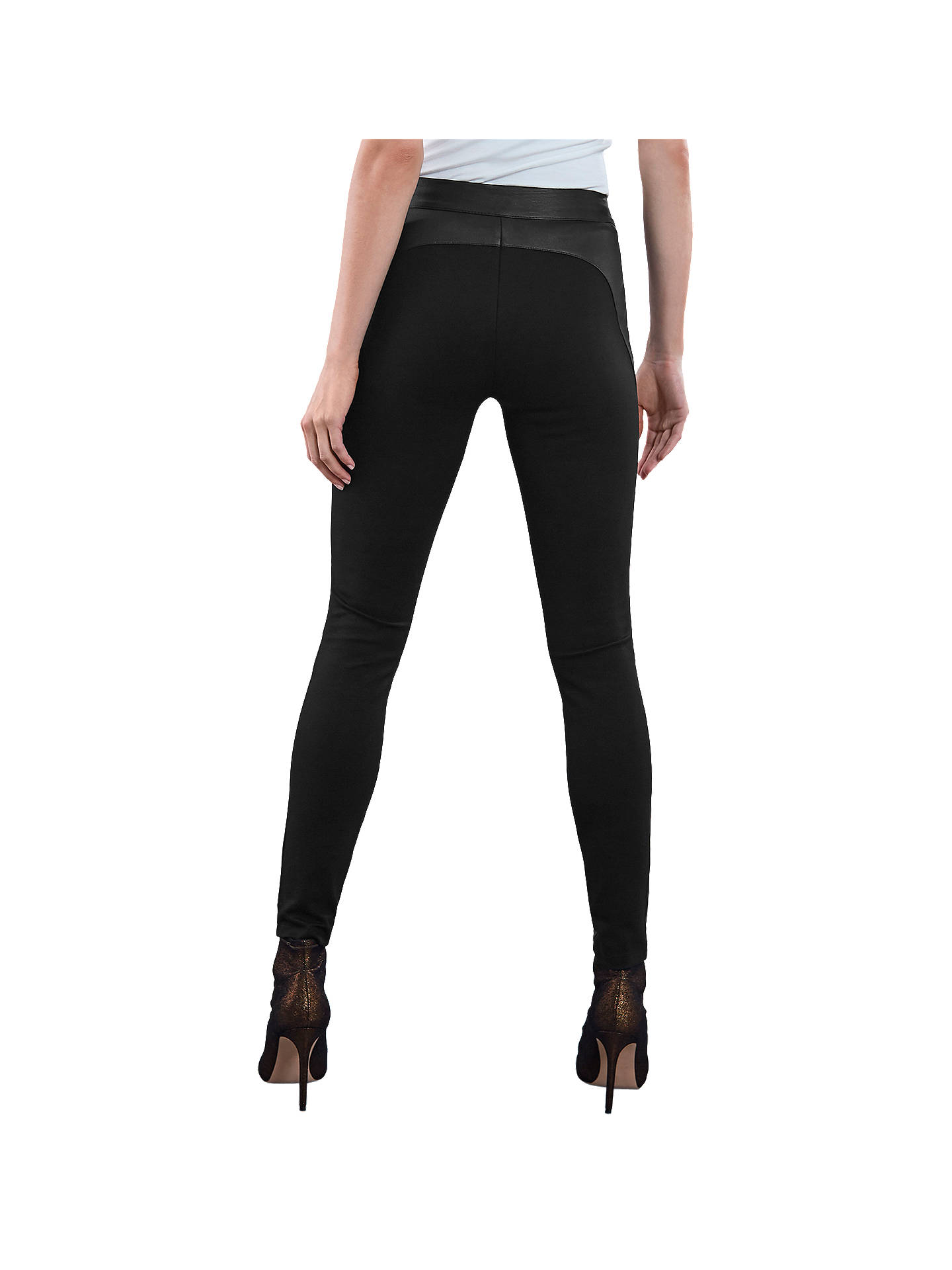 Buy Reiss Valerie Leather Pont Leggings, Black, 10 Online at johnlewis.com