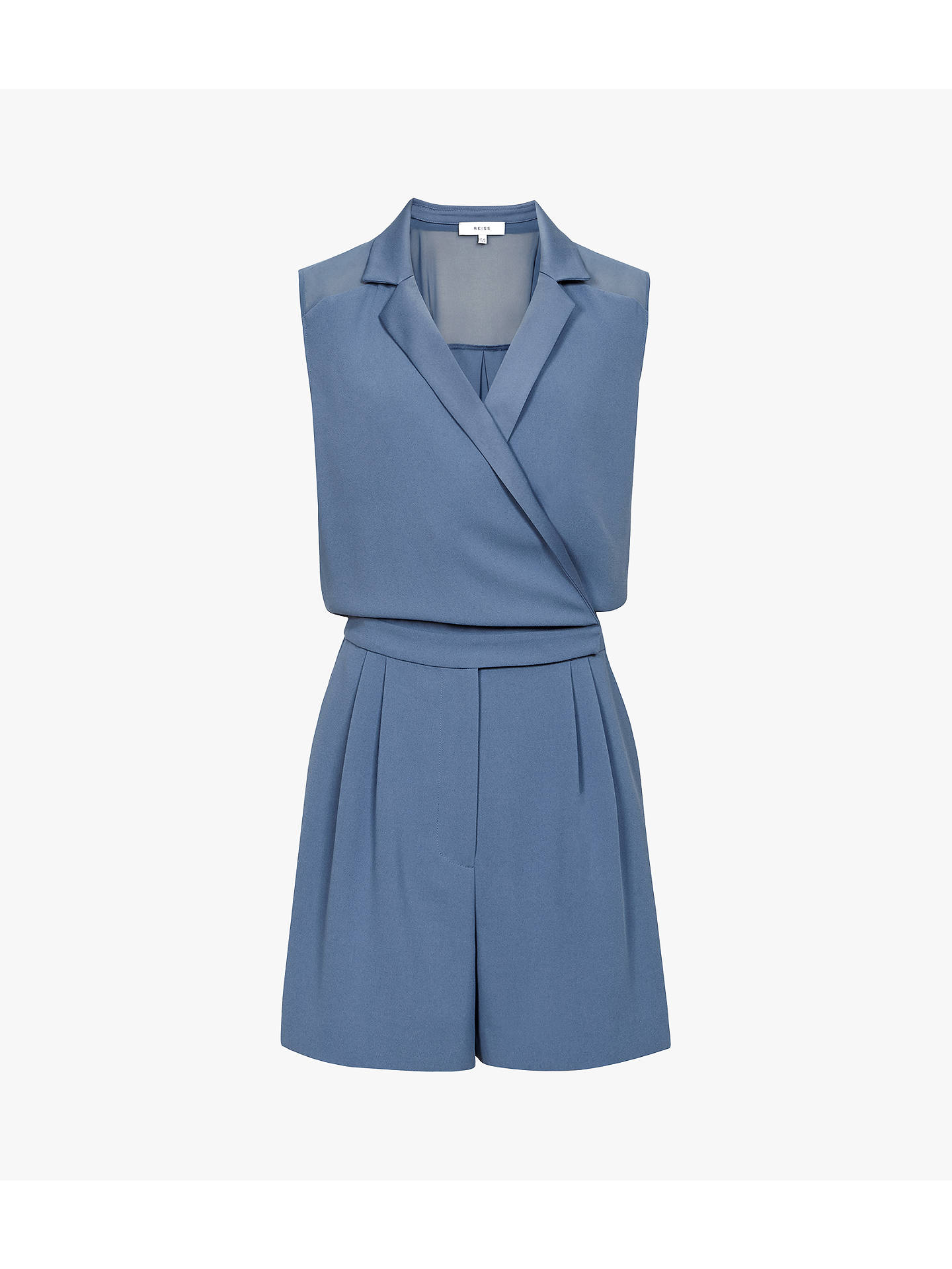 Buy Reiss Freda Tux Front Playsuit, Chrome Blue, 6 Online at johnlewis.com