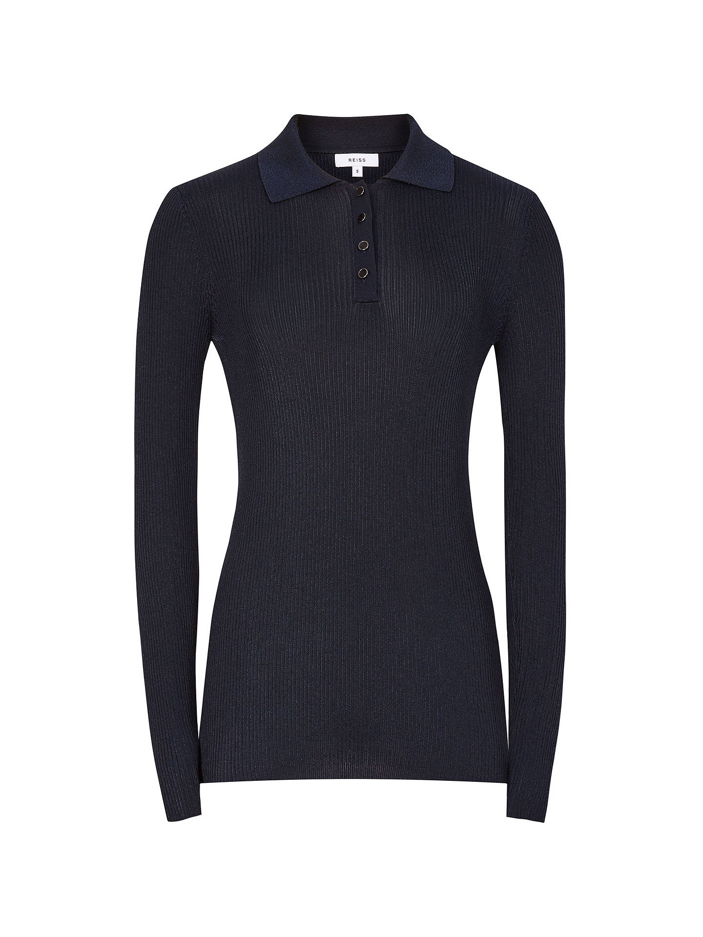 BuyReiss Long Sleeve Knitted Polo Shirt, Navy, L Online at johnlewis.com
