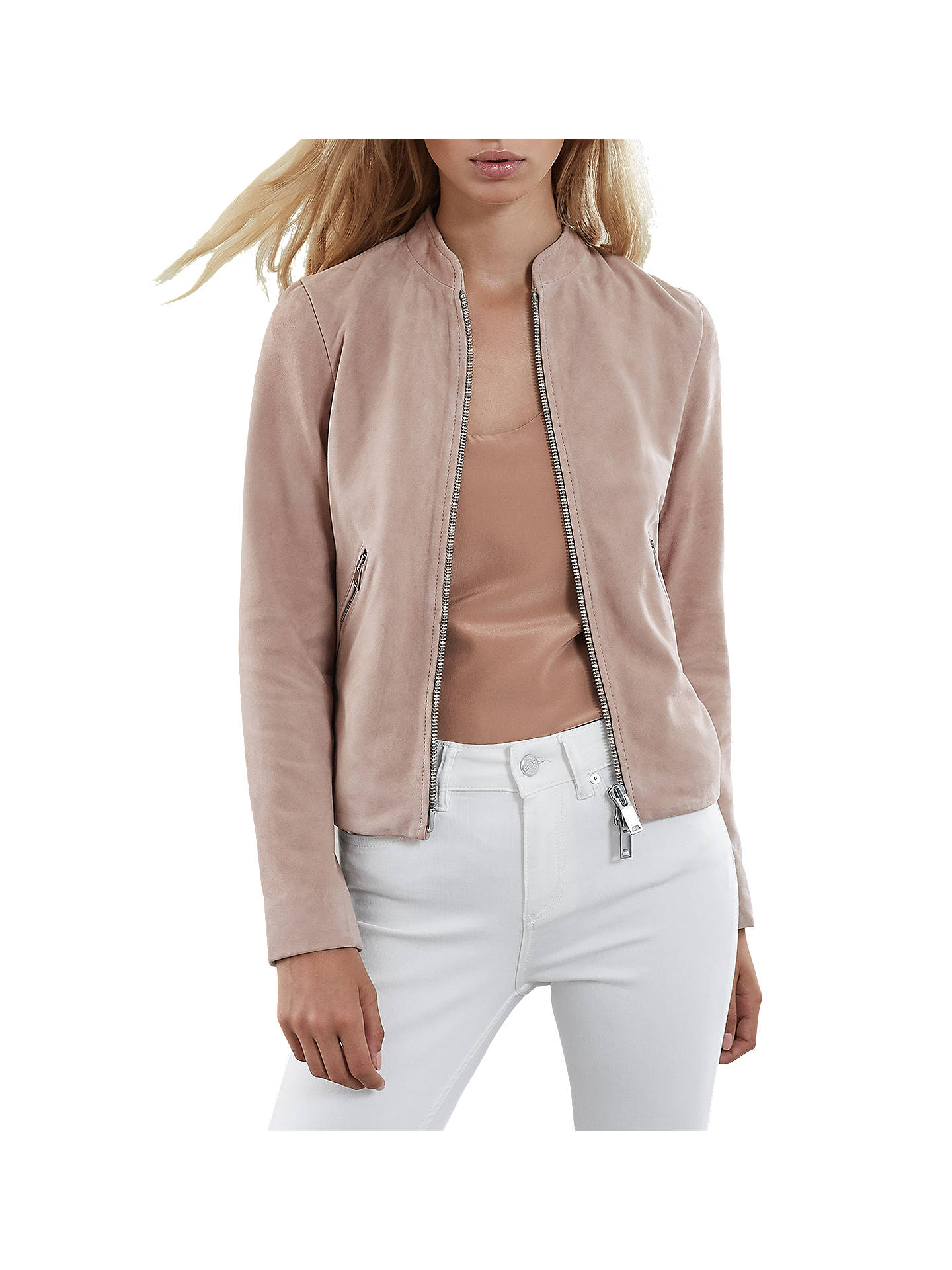 Buy Reiss Aries Suede Jacket, Neutral, 6 Online at johnlewis.com