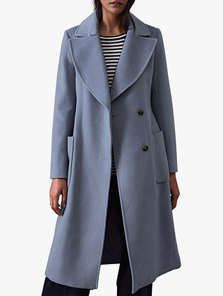 Buy Reiss Faris Wool Belted Longline Coat, Blue, 6 Online at johnlewis.com