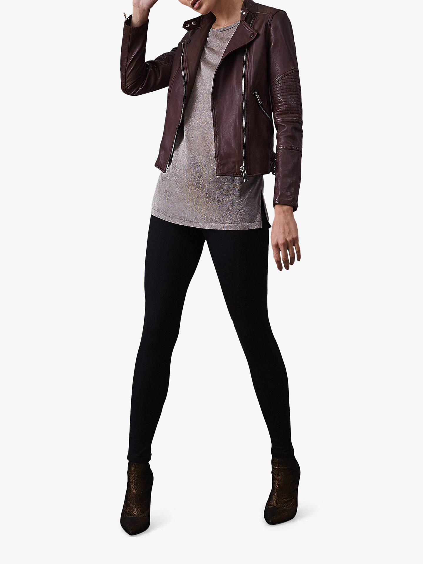BuyReiss Tay Leather Stitch Jacket, Ox Blood, 6 Online at johnlewis.com