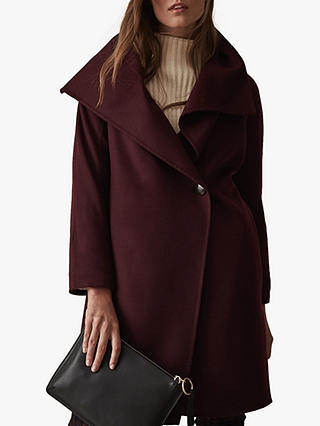 Buy Reiss Antonia Blind Seam Coat, Berry, XS Online at johnlewis.com