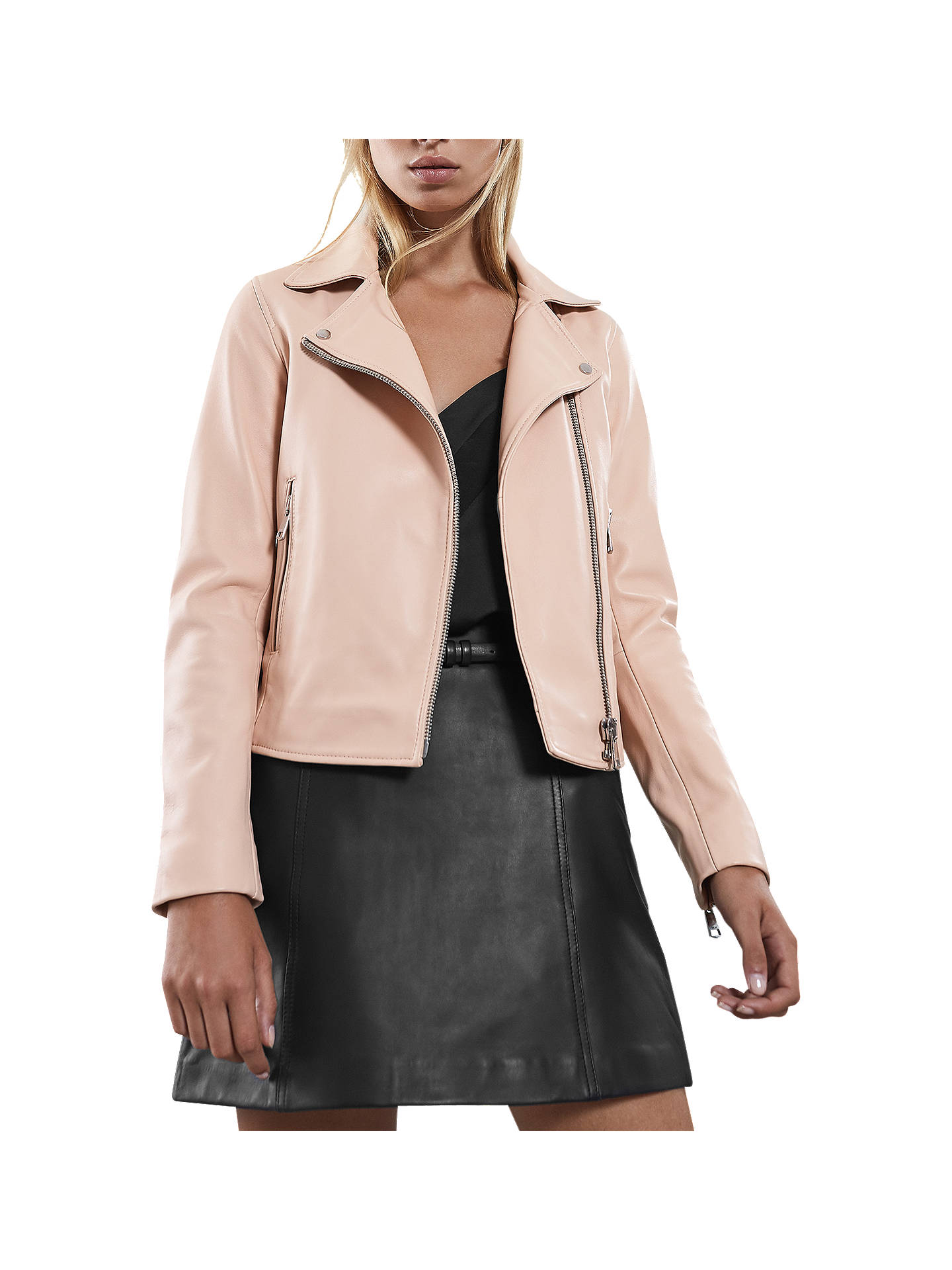 4e1363725de0 Buy Reiss Gia Leather Biker Jacket, Apricot, 6 Online at johnlewis.com ...