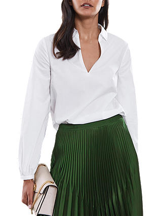 Buy Reiss Veronica V-Neck Cotton Shirt, Off White, 6 Online at johnlewis.com