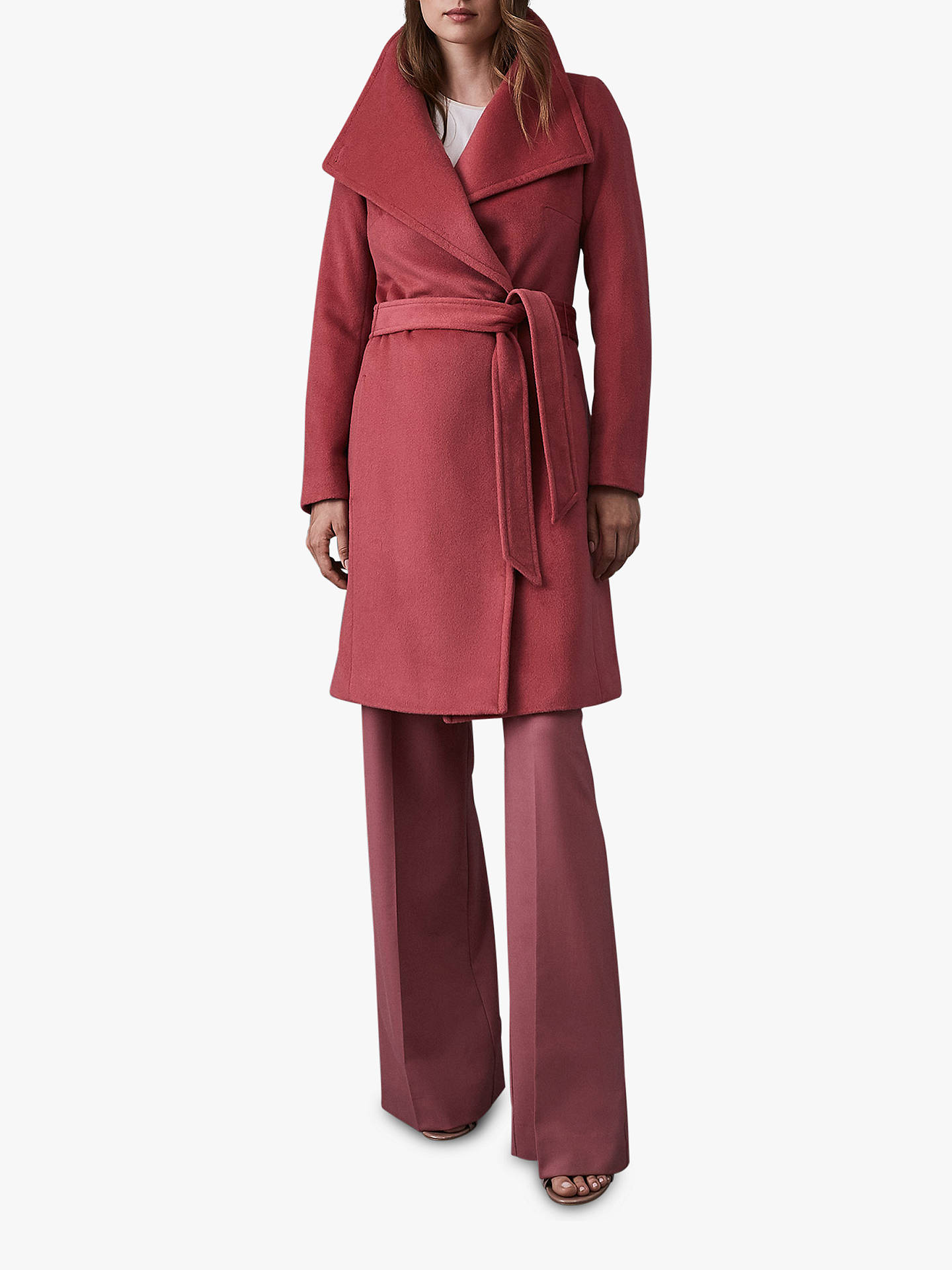 Buy Reiss Luna Belted Longline Wool Coat, Raspberry, 6 Online at johnlewis.com