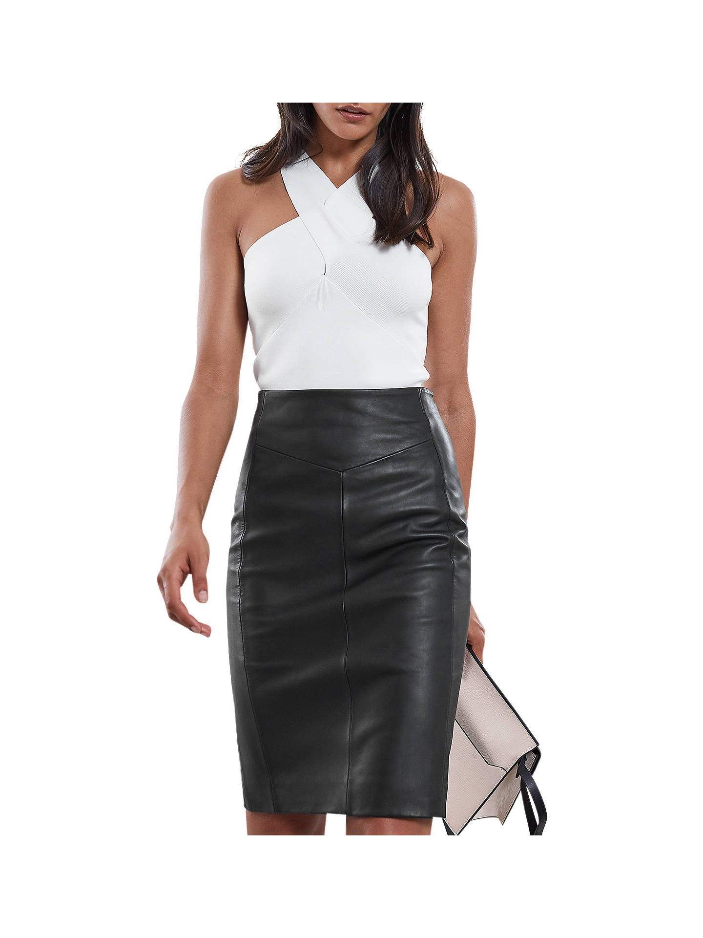 8799e88988 Buy Reiss Megan Leather Skirt, Black, 6 Online at johnlewis.com ...