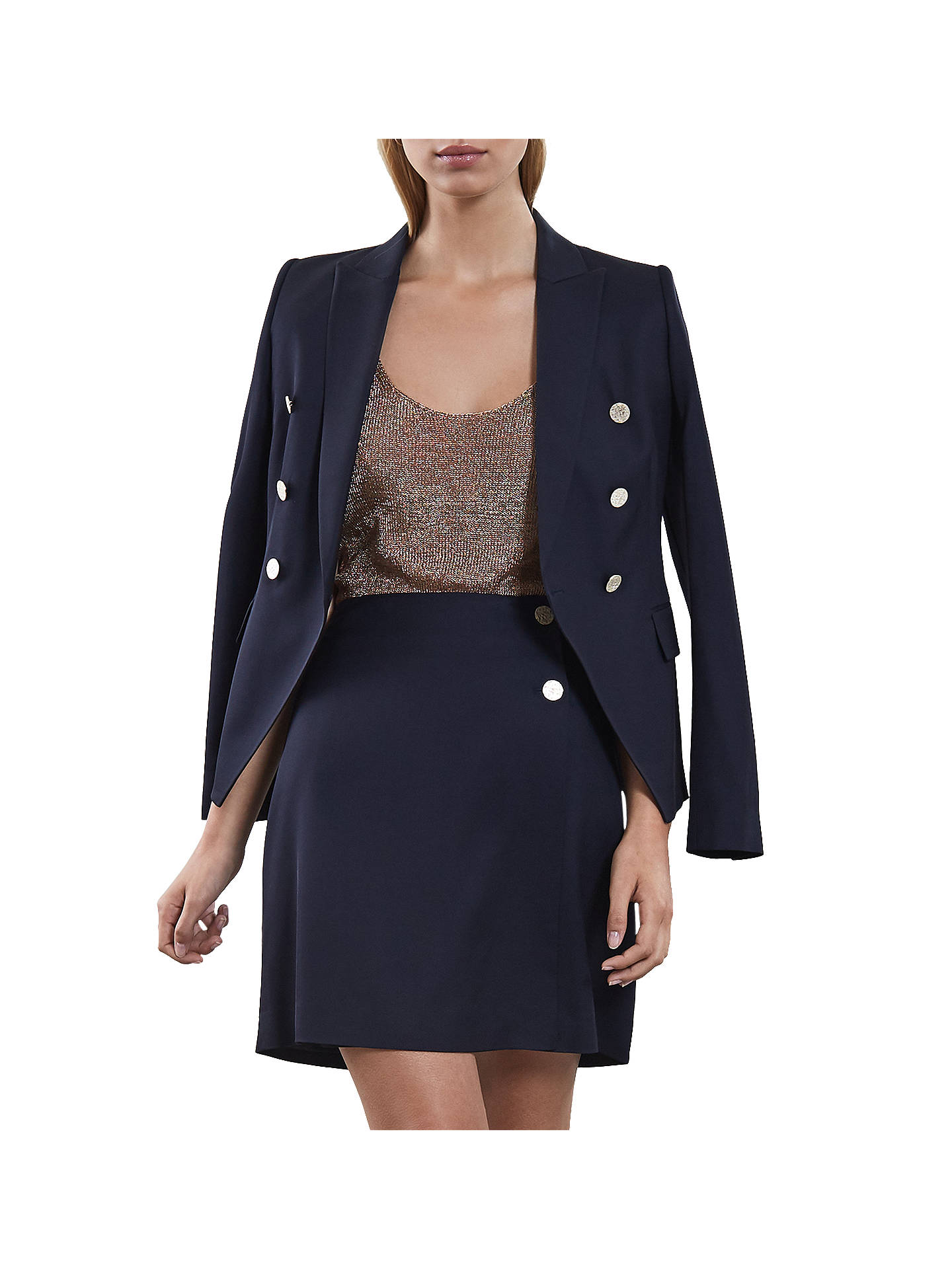 Buy Reiss Tally Tailored Skirt, Navy, 6 Online at johnlewis.com