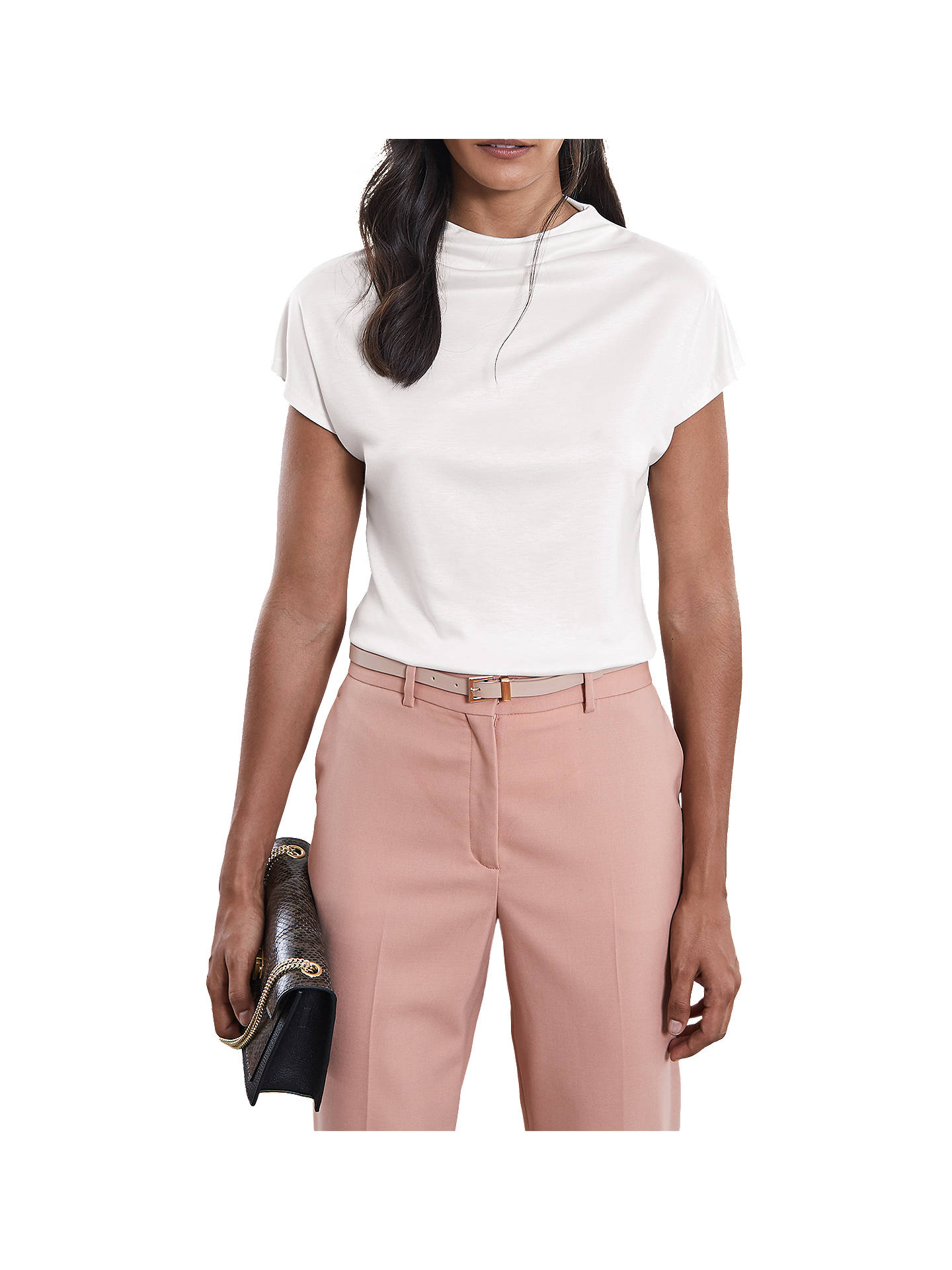 BuyReiss Pax High Neck Top, White, XS Online at johnlewis.com