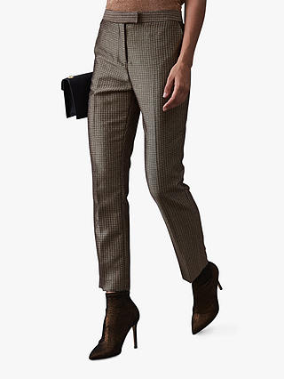 Buy Reiss Zen Shiny Trousers, Black/Cream, 6 Online at johnlewis.com