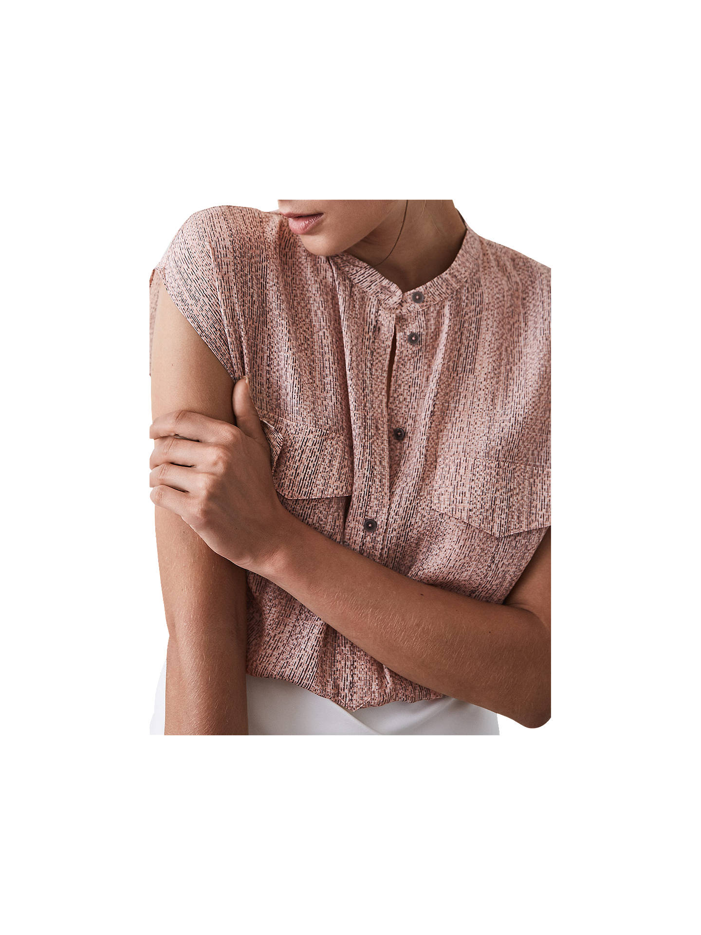 BuyReiss Arabella Static Print Blouse, Pink, 8 Online at johnlewis.com