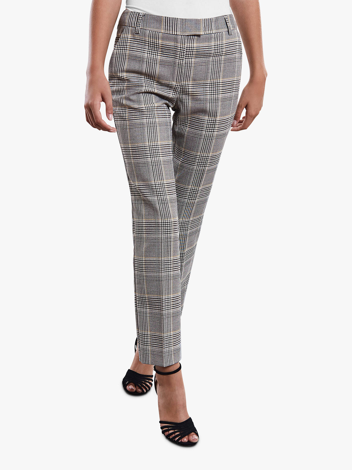 BuyReiss Milan Check Skinny Trousers, Black/White, 8 Online at johnlewis.com