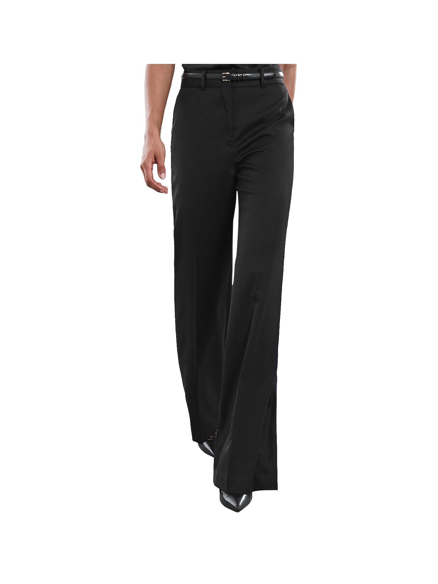 708aa5f8f0 Reiss Harper Wide Leg Trousers, Black at John Lewis & Partners