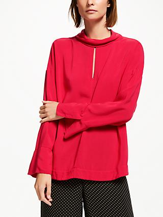 Finery Rima Fold Neck Top, Crimson