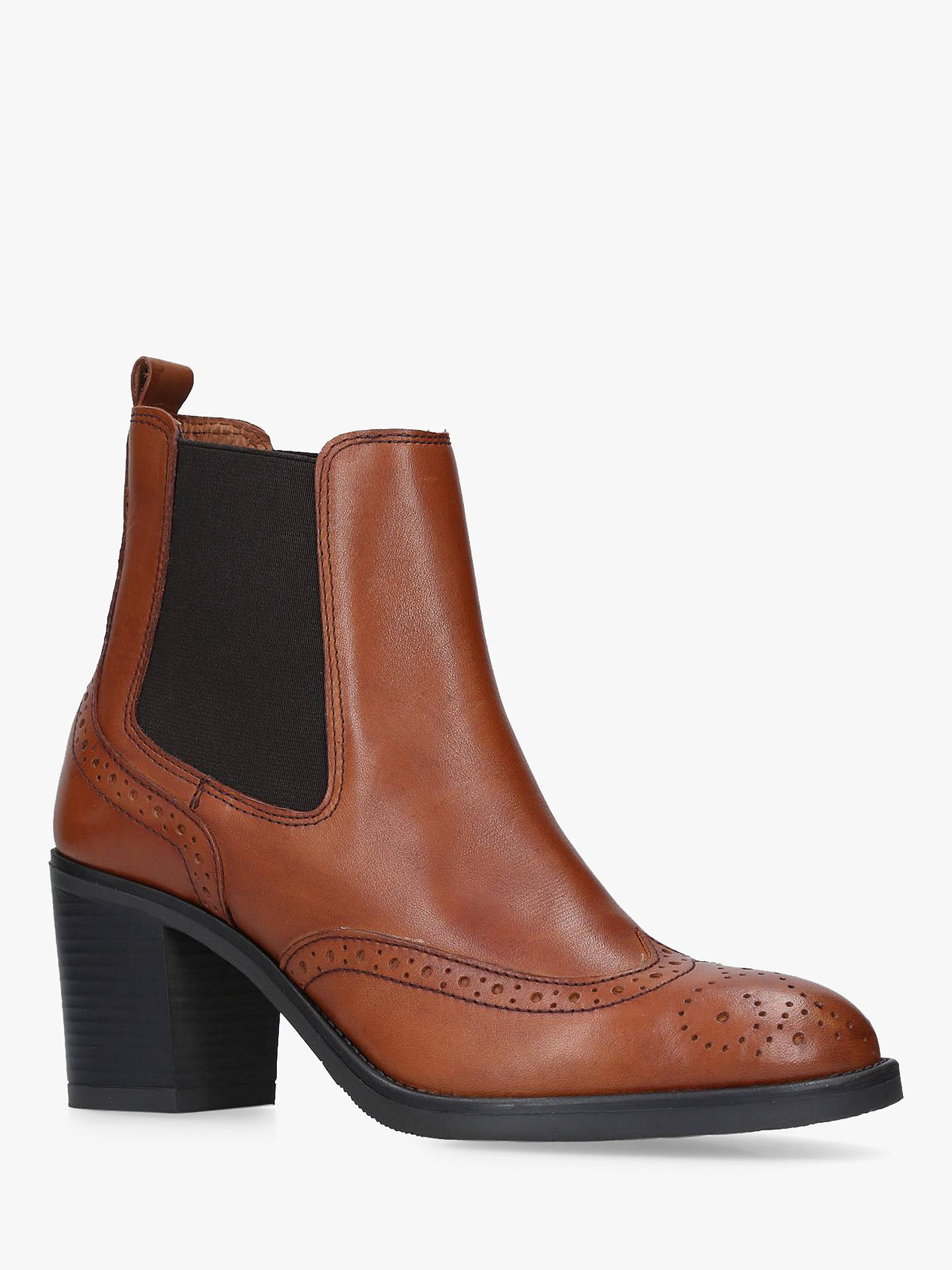BuyCarvela Comfort Raquel Block Heel Ankle Boots, Brown Leather, 5 Online at johnlewis.com