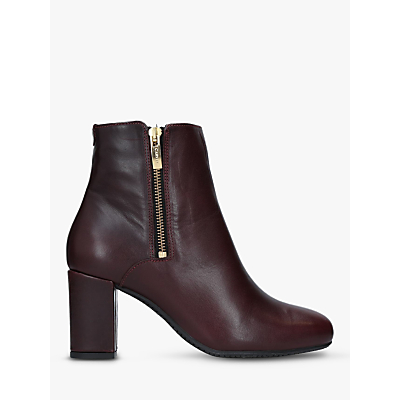 Carvela Comfort Rail Side Zip Ankle Boots, Red Leather