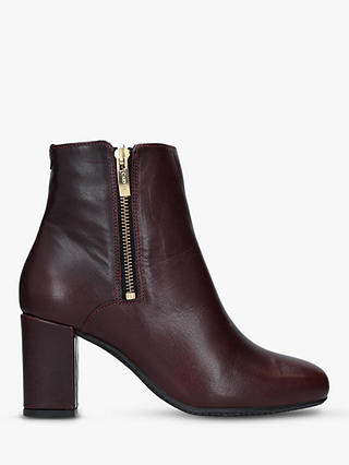 Buy Carvela Comfort Rail Side Zip Ankle Boots, Red Leather, 3 Online at johnlewis.com